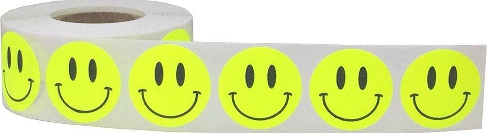 25 mm 1 Pollice Rotondo 500 Etichette su Rotolo Arancione Fluorescente Felice Faccia Cerchio Punto Adesivi