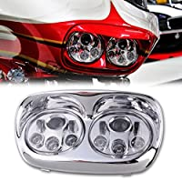 "Sunpie 5-3/4"" Chrome Motorcycle Projector Day Maker Dual LED Headlight for 2004~2013 Harley Davidson Road Glide"