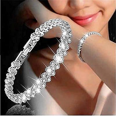 Songlanbuy Women Cubic Zirconia Tennis Bracelet, Bridal Rhinestone Bracelet Bangle Link, Fashion Silver/Gold Plated Crystal Bracelets Bangle Teen Girl Valentine's Chain Bracelet Lovers Gifts