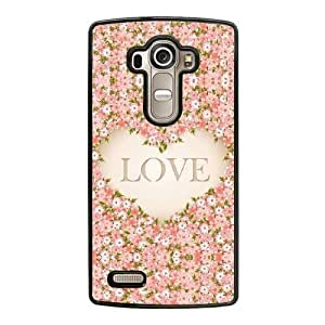 Wunatin Hard Case ,LG G4 Cell Phone Case Black LOVE floral pink [with Free Touch Stylus Pen] BA-2236614