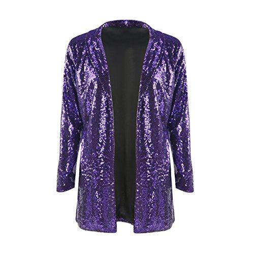 Purple Sequin - IRISIE Women Sparkle Sequins Open Front Long Sleeve Blazer Jacket (Small, Purple)
