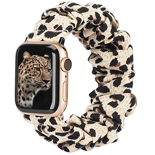 TOYOUTHS Compatible with Apple Watch Band Scrunchies 38/42mm Cloth Soft Pattern Printed Fabric Bracelet Women Rose Gold IWatch Cute Elastic Scrunchy Bands 40/44mm Series SE 6 5 4 3 2 1