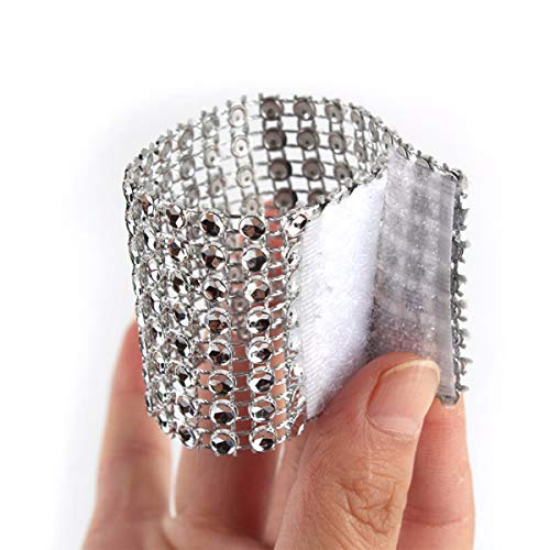 Yuengs 100 PCS Napkin Rings Sparkly Adornment for Wedding/Shower / Party - Velcro Napkins wrap (Silver) (Napkin Wedding Ring Ring)