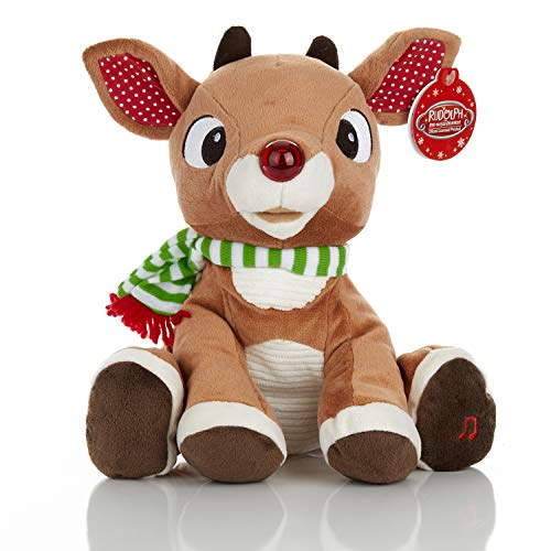 KIDS PREFERRED Rudolph The Red - Nosed Reindeer - Stuffed Animal Plush Toy with Music & Lights (Reindeer Animated)