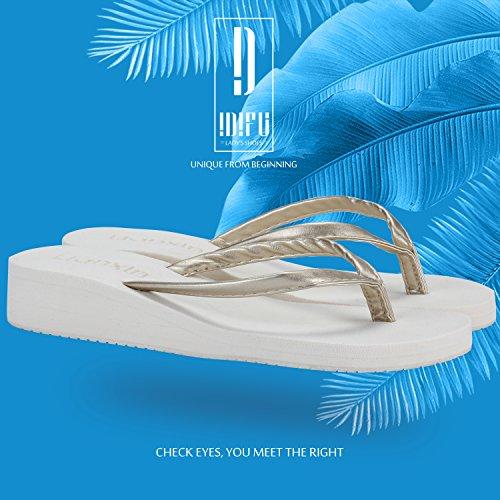 Difyou Mujeres Wedge Mid Heel Thong Sandalias De Playa Chanclas Off Blanco