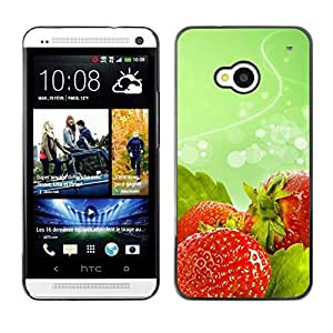 LECELL -- Funda protectora / Cubierta / Piel For HTC One M7 -- Fruit Macro Wet Strawberries --