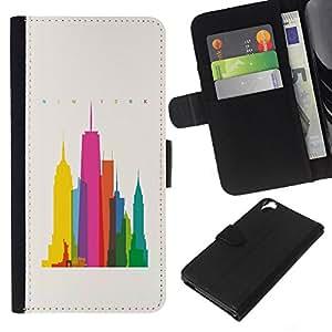 EJOY---La carpeta del tirón la caja de cuero de alta calidad de la PU Caso protector / HTC Desire 820 / --Ciudad colorida Art Rascacielos Poli Arte