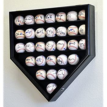Image of 30 Baseball Ball Display Case Cabinet Holder Rack Home Plate Shaped w/98% UV Protection- Lockable -Black Accessories