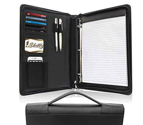 Skittz Leather Zippered Padfolio Business Portfolio With Carry Handle & Removable 3 Ring Organizer by Skittz
