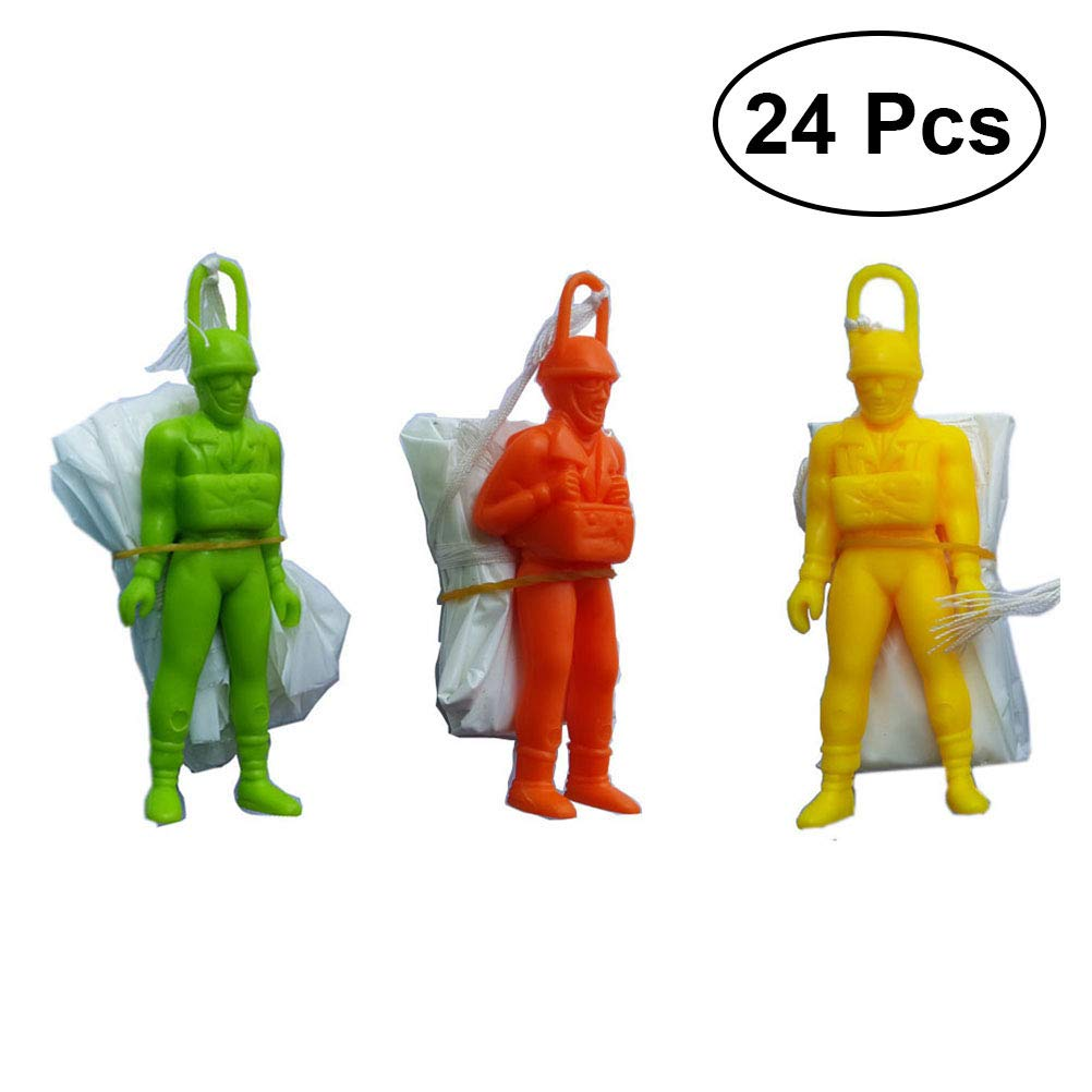 YeahiBaby Mini Figurine Parachute Main Jeter Parachute Jouet Enfants Parachute Éducatif avec Soldat Figure 24 Pièces (Couleur Et Style Assortis)