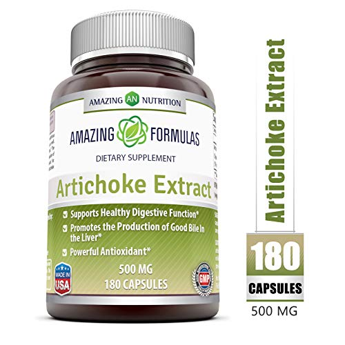 Amazing Formulas Artichoke Extract Dietary Supplement * 500mg Cynara Scolymus Leaf Capsules * for Healthy Weight Management, Digestive Health, Liver Function & Antioxidant Protection * 180 Capsules ()