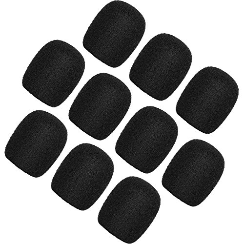 dset Microphone Windscreens Foam Covers Microphone Covers Mini Size Color Black 10 Pack ()
