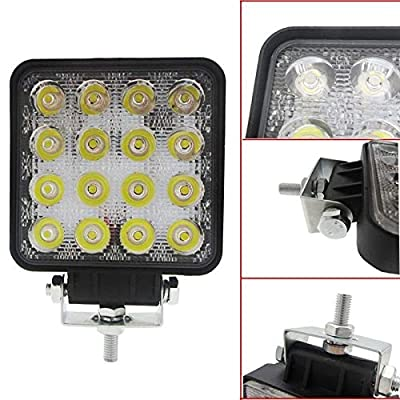 SAN YOUNG 4 Inch 48W 12V 24V Square Car LED Work Light Lamp Spot Beam High Power Offroad Boat Tractor Truck Motorcycle SUV Night Driving Lighting