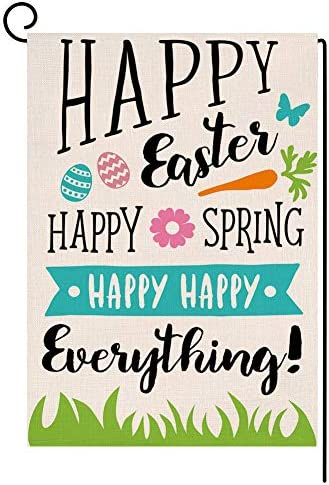 Happy Easter Garden Flag Vertical Double Sided 12 5 X 18 Inch Sping Burlap Yard Outdoor Decor Garden Outdoor