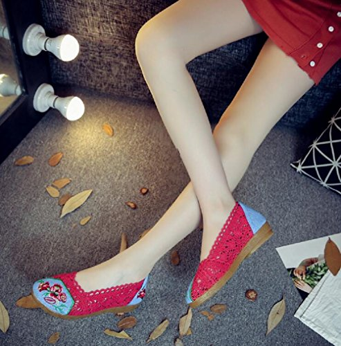 Lazutom - Mocasines de Lona para mujer Red