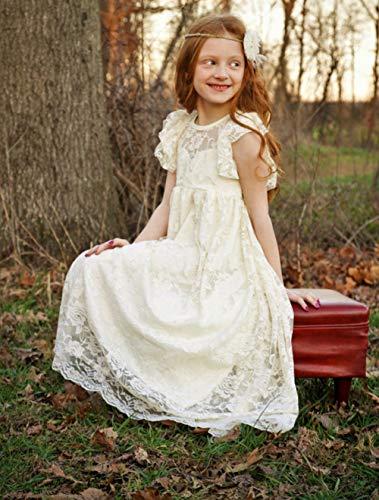 abd3d2165a7 KSDN Lace Boho Flower Girl Dress Tea Length A Line Baptism Communion Gown  US 13 White