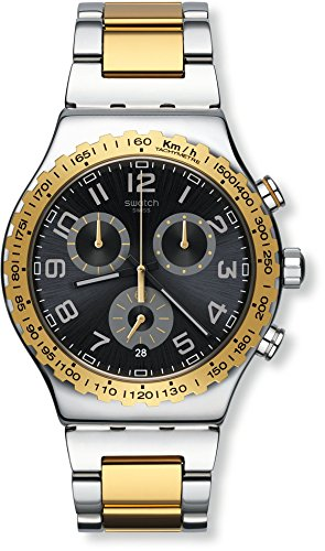 Swatch Men's 'Golden Youth' Quartz Stainless Steel Casual Watch, Color:Two Tone (Model: YVS427G)