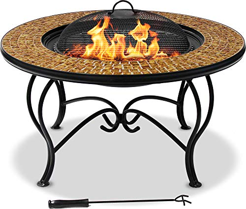 MDA Designs Patio Mossaic Tiled Coffee Table Grill and Ice Bucket