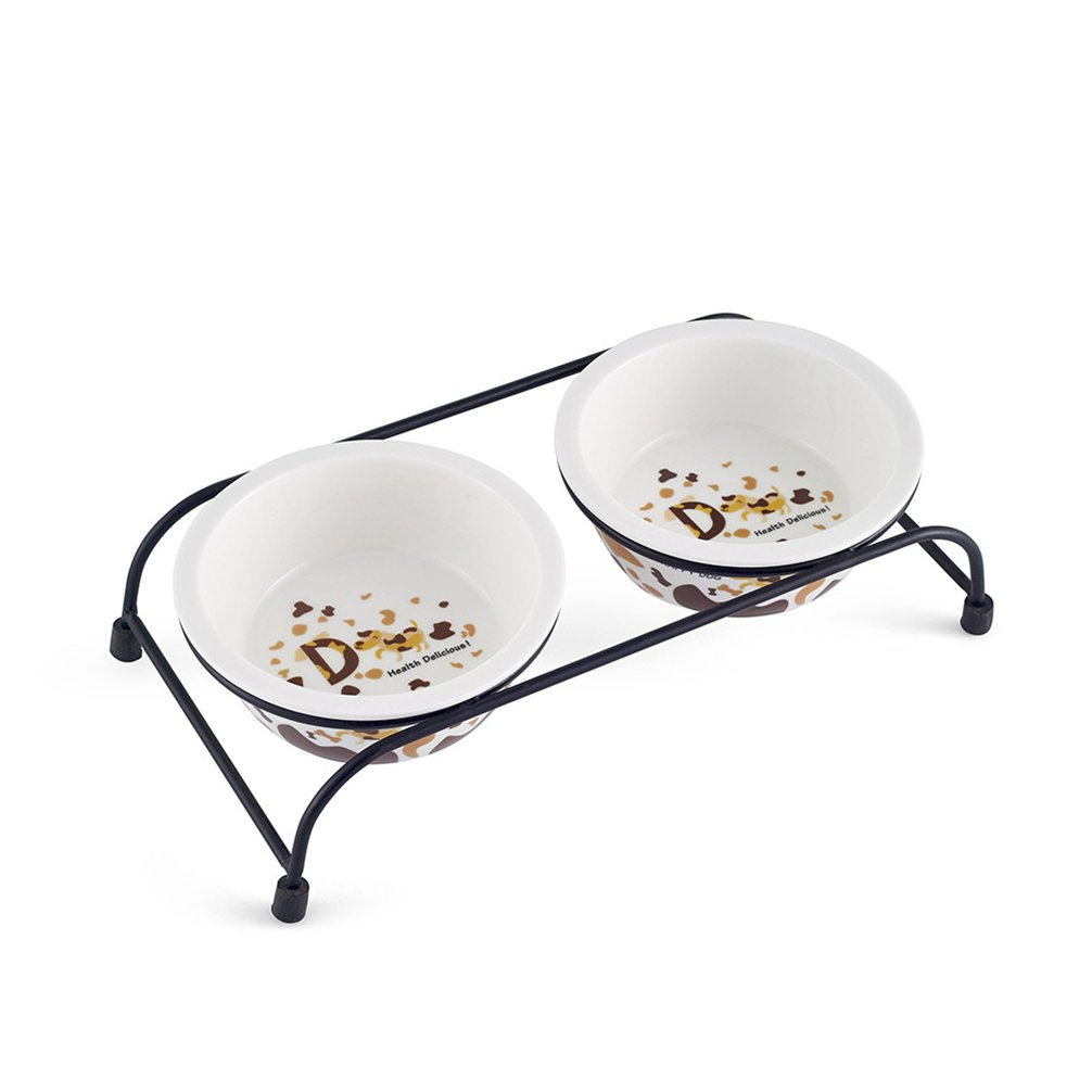 Be Good Pet Double Diner Feeder with Sturdy Non-Skid Elevated Iron Stand Wear-Resistant Dog Water Food Ceramic Double Bowls Set Perfect for Cat Dogs Puppies S