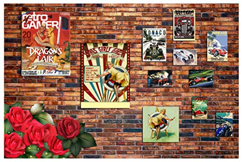 (BlueVivi 7x5 ft Photography Background Inside Movie Poster on Red Brick Wall Saloon House Interior Life Collection Scene Backdrops Personal Portraits Art Photographic Shooting Video Studio Props BV003)
