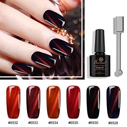 6pcs Red Series Cat Eye Nail Gel Set, Saviland Soak Off UV/LED Magnetic Nail Polish Nail Art Manicure Kit 10ml+ +Free Magnet Stick