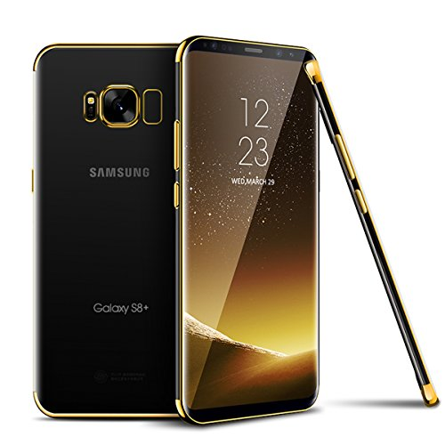 Galaxy J3 2016 Hülle,Galaxy J3 2016 Silikon Hülle,SainCat Plating TPU Handyhülle mit Überzug Farbig Rahmen Transparent Zurück Ultra dünne Crystal Clear TPU Durchsichtige Schutzhülle Durchsichtig Handy Gold