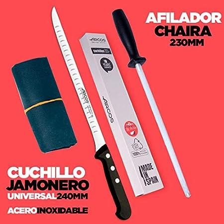Arcos | Juego Cuchillo Jamonero 3 Pzas | jamonero Acero Inoxidable (240 mm), afilador Chaira y Cubre jamón | Juego Cuchillos jamonero Profesional | Paleta ibérica | Eco