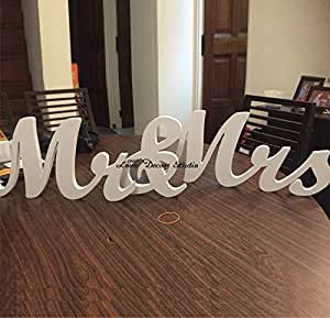 Amazoncom large size mr and mrs sign tinksky wedding for Large wooden letters amazon