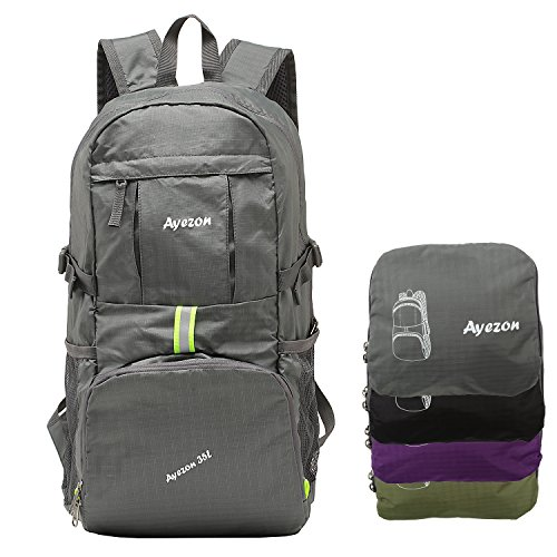 Price comparison product image Ayezon Unisex Portable Grey Hiking Backpack Foldable Daypack for Camping Climbing and Beach 35L
