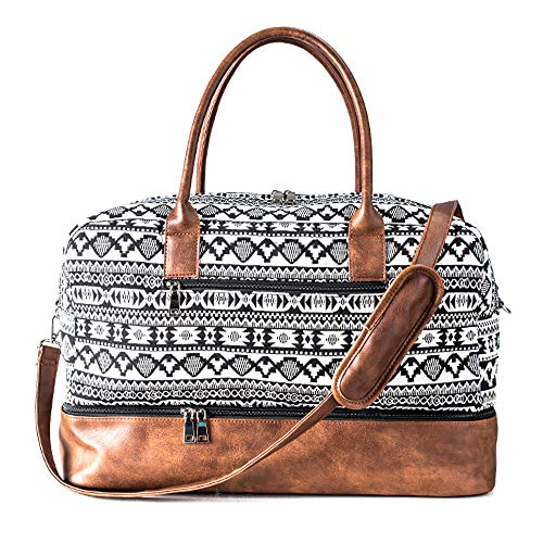 Canvas Large Weekend Bag Overnight Travel bag Carry On with Shoe Pouch weekender Bags,Beige