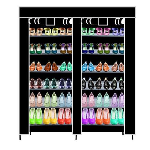 Shoe Rack, WensLTD Double Row 7Layer 6 Grid Waterproof Shoe Rack Roller Blind Shoe Cabinet (Ship from US!!!) ()