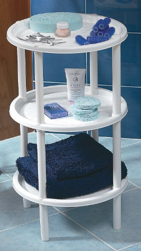 Plastmeccanica, Italy Three Tier, Round, End Table, Shelf, Stand, TV Snack Table, Plenty of Space Between Tiers, White