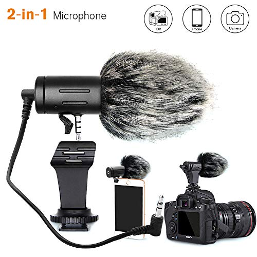 Camera Microphone, Video Microphone Directional Recording Mic with Shock Mount for iPhone/Andoid Smartphones, Nikon/Canon/Sony Camera/DV Camcorder Audio Recorder PC(Upgraded)