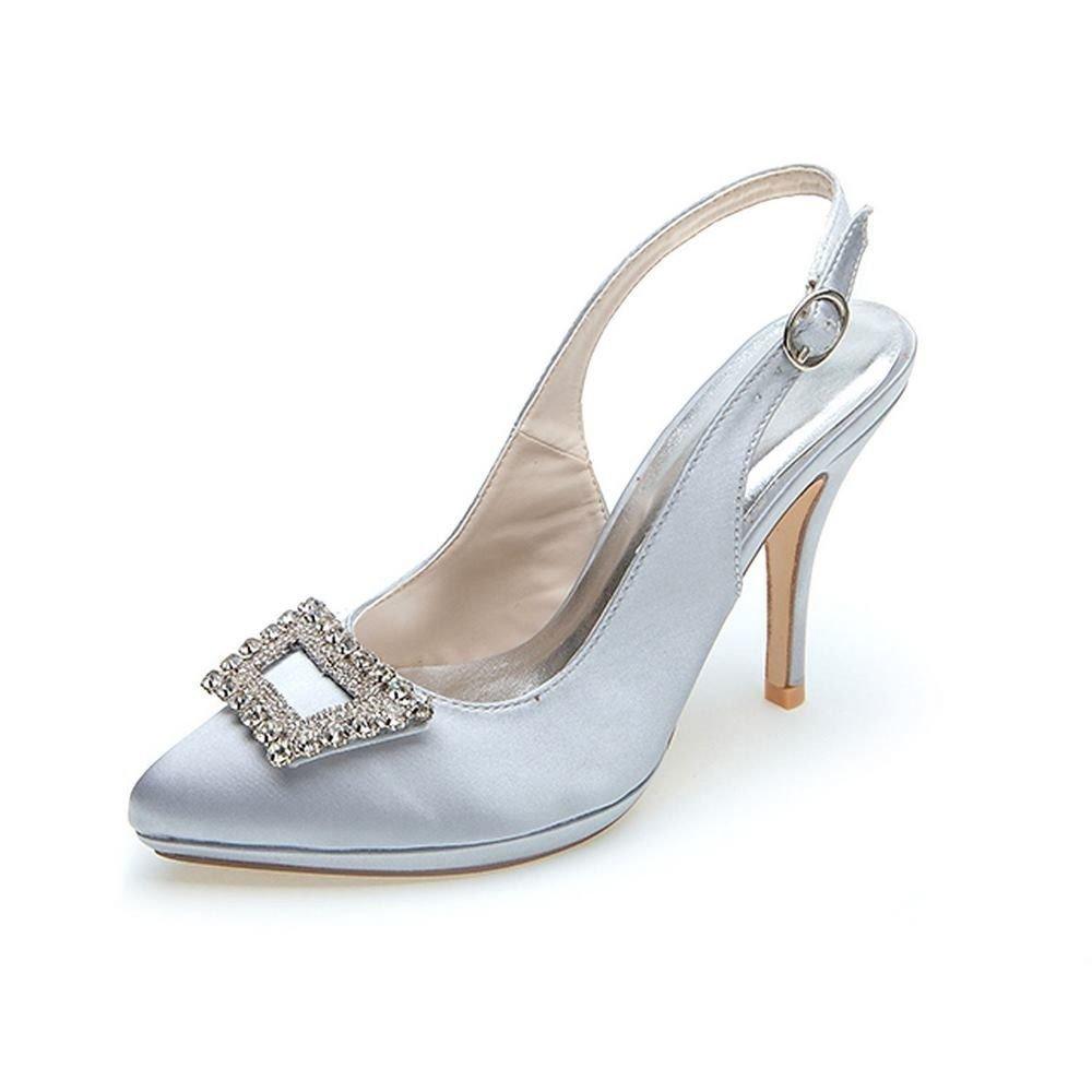 Duoai@ Schuhe Schuhe Duoai@ mit Hohen Absätzen mit Weißen Frauen Schuhe Hochzeit Schuhe mit Dem Wort Mutter Schuhe mit Seide Satin Silber 418d12