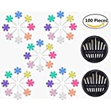 40 Pieces Flower Head Needle Threaders with 60-Count Assorted Hand Sewing Needles Set, Magnolora Multicolor Wire Loop Needle Threader Stitch Insertion Hand Machine Sewing Tool