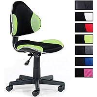 IDIMEX Chaise de Bureau pour Enfant Alondra Fauteuil pivotant avec Hauteur réglable, revêtement en Mesh Noir/Vert