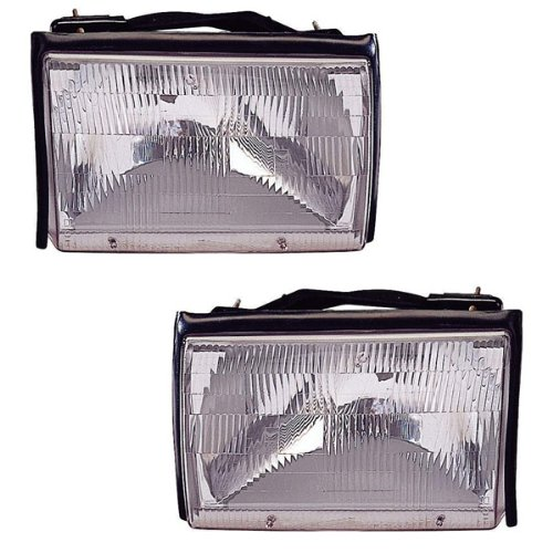 1987-1993 Ford Mustang (& GT Models) Headlight Headlamp Head Lamp Light Pair Set: Left Driver AND Right Passenger Side (1987 87 1988 88 1989 89 1990 90 1991 91 1992 92 1993 93) -  Aftermarket Auto Parts, FO2503106, FO2502106