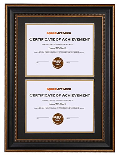(Space Art Deco 14x20 Ornate Gold Black Design Double Certificate Frame - Black Over Gold Double Mat - for Two 8.5x11-Inch Certificates and Diplomas- Sawtooth Hangers - Wall Mount - Glass (Ornate))