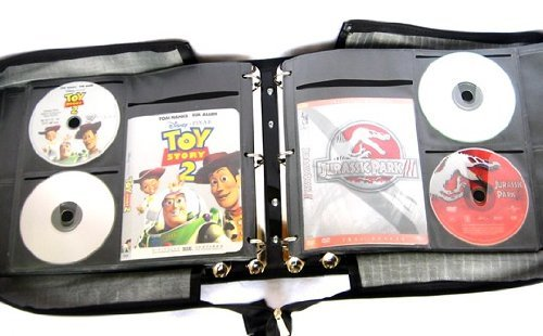 Wallet Storage Binder Ring Media (Artisan 240 Disc Black Faux Leather DVD Album with 120 Liner Notes and Title Cover Page Capacity Using Metal Ring Binder)