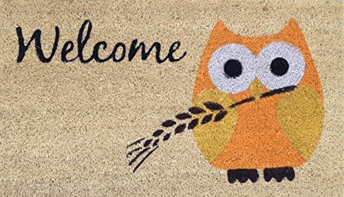 Autumn Owl Welcome Mat, Coir Fiber Doormat with PVC Backing, 17 x 29 ACMH0014