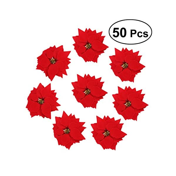 VORCOOL-50PCS-Artificial-Poinsettia-Floral-Heads-Christmas-Tree-Decorations-Xmas-Home-Front-Door-Wreath-Table-Centerpieces-Arrangements-Fake-Hanging-Vine-Swag-Decorative