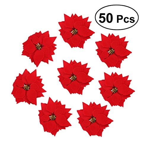 VORCOOL 50PCS Artificial Poinsettia Floral Heads Christmas Tree Decorations Xmas Home Front Door Wreath Table Centerpieces Arrangements Fake Hanging Vine Swag Decorative