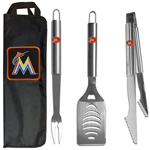 MLB Florida Marlins Stainless Steel BBQ Set with Bag