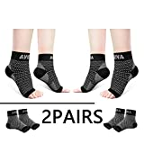 AVIDDA Ankle Brace for Men Women 2 Pairs Plantar Fasciitis Socks with Arch Support Compression Foot Sleeve for Achilles Tendon Support Sprained Ankle Swelling Flat Feet Black L