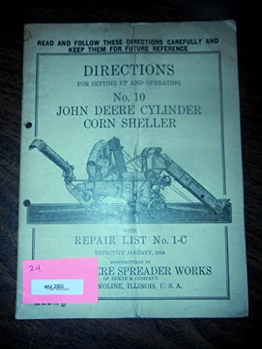 1934 John Deere #10 Corn Sheller Operators Manual