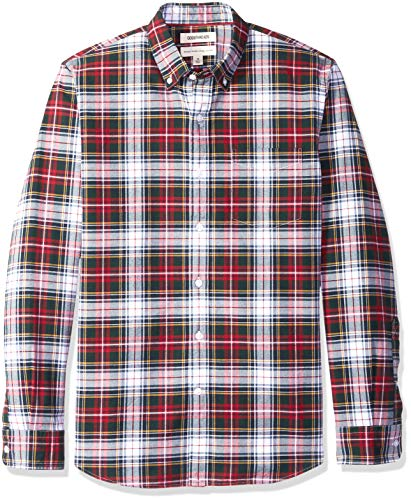 Goodthreads Men's Standard-Fit Large-Scale Tartan Oxford Shirt, red Navy White, - Scale Oxford