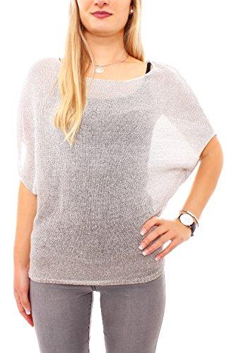 Easy Young Fashion Damen Silberglanz Kurzarm Pullover Farbverlauf Beige