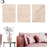 Mannwarehouse Geometric Canvas Prints Wall Art Pale Salmon Colored Chess Table Like Modern Pink Color Squares Artwork Print Triptych Art Set Peach Cream W 16' x L 32' x3pcs