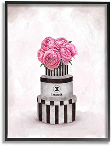 Stupell Industries Fashion Flower Box Stack Pink Painting