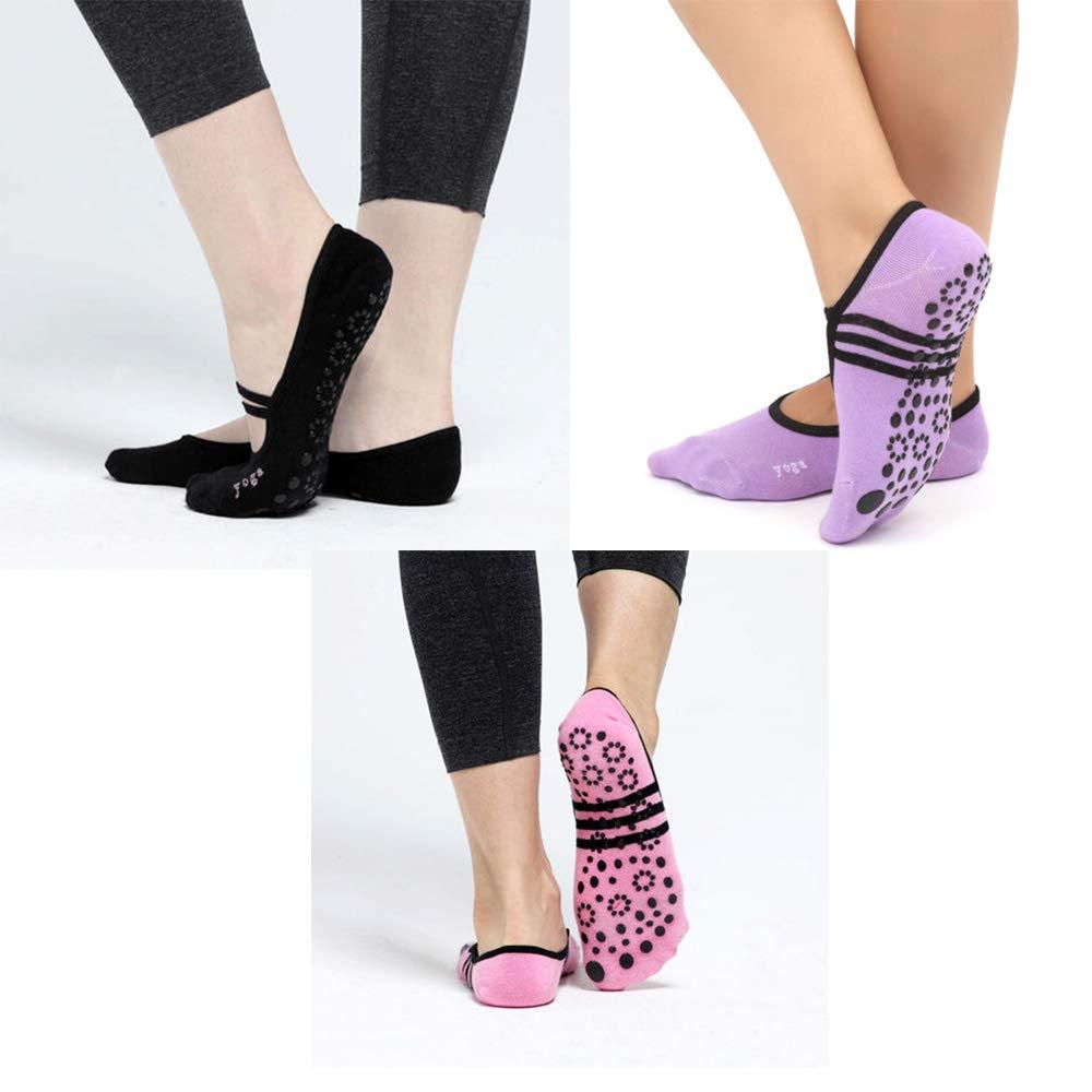 EOPER 3 Pairs Women Anti Slip Cotton Yoga Socks for Ladies Dance Socks Slippers